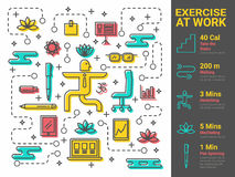 Exercise at Work. Illustration of xercise at work infographic concept Royalty Free Stock Photography