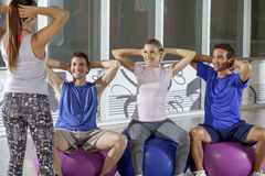 Exercise workout class in progress Stock Images