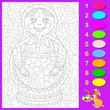 Exercise for young children. Need to color the black and white picture with Russian doll according to numbers. Vector cartoon image. Scale to any size without Stock Images