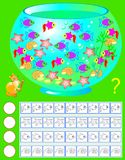 Exercise for young children. Need to count the aquarium inhabitants, paint corresponding number of them and write their quantity. Vector cartoon image. Scale to Stock Image