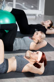 Exercises for abdominal muscles on balls Stock Image