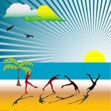 Exercises on the beach Royalty Free Stock Photo