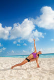Exercises on the beach Royalty Free Stock Image