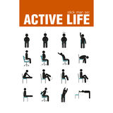 Exercises on chair stick man set Stock Images