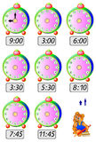 Exercises for children - need to draw clock hands at the corresponding places. Stock Photo