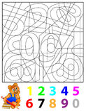 Exercises for children - need to find the hidden numbers and paint them in relevant colors. Vector image. Developing children skills for counting and writing Royalty Free Stock Photos