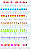 Exercises for children - need to solve examples and paint the corresponding number of objects. Stock Photos