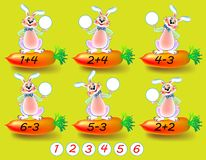 Exercises for children - need to solve examples and to write the numbers in relevant circles. Stock Photo