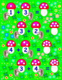 Exercises for children - need to solve examples and to write the numbers on relevant mushrooms. Royalty Free Stock Photography