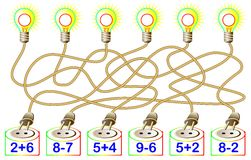 Exercises for children - need to solve examples and write the answers on the corresponding lamps. Vector cartoon image. Developing children skills for counting Royalty Free Stock Images