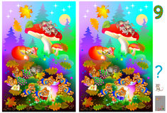 Exercises for children. Picture of animals sleeping in the forest. Need to find 9 differences. Developing skills for counting. Vector cartoon image. Scale to Royalty Free Stock Photo