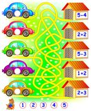 Exercises for children who needs to find the garage for each car and to write the numbers in relevant circles. Vector cartoon image. Developing children skills Royalty Free Stock Photography