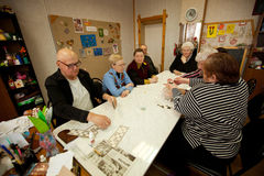 Exercises for development of attention for eldery. Day of Health in Center of social services for pensioners and disabled (Lotto - exercises for development of Stock Images