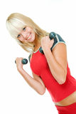 Exercises with dumbbells Royalty Free Stock Photography