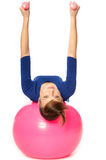 Exercises with dumbbells on a gymnastic ball Stock Images