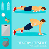 Exercises with dumbbells set. Healthy lifestyle Stock Images