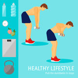 Exercises with dumbbells set. Healthy lifestyle Stock Photos
