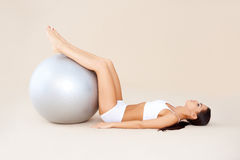 Exercises with fit ball Royalty Free Stock Images