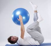 Exercises with fitness ball Stock Photos