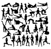 Exercises Fitness and Gym Sport Silhouettes. Art vector design Stock Image