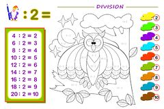Free Exercises For Kids With Division By Number 2. Paint The Picture. Educational Page For Mathematics Baby Book. Stock Images - 156273124