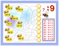 Free Exercises For Kids With Division By Number 9. Write Numbers In Correct Circles. Educational Page For Mathematics Baby Book. Royalty Free Stock Photos - 144898278