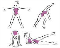 Exercises in the gym. Girl doing exercises in the gym Royalty Free Stock Images