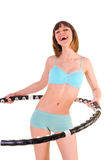 Exercises with hula hoop Stock Image