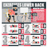 Exercises lower back health care infographics Stock Image