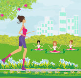 Exercises in the park Royalty Free Stock Images