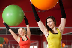 Exercises with pilates fitballs Royalty Free Stock Images