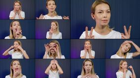Exercises for rejuvenating face, woman is showing massage and gymnastics, face fitness