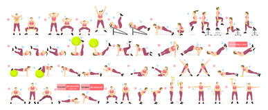 Exercises set for fat. Stock Image