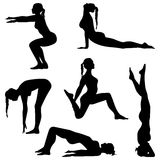 Exercises. Silhouettes - vector set Stock Images