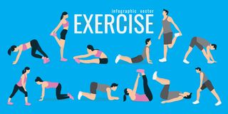 Exercises. slim woman and man in costume doing fitness workout. Active and healthy life concept. vector illustration. on blue background. icons of girl doing stock illustration