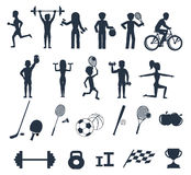 Exercises with weights and warm-up icons. Icons set of man and woman doing warm-up and exercises with kettlebell, barbell and dumbbells. People jogging Royalty Free Stock Photos