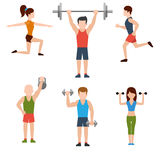 Exercises with weights and warm-up icons. Icons set of man and woman doing warm-up and exercises with kettlebell, barbell and dumbbells on white background Stock Photos