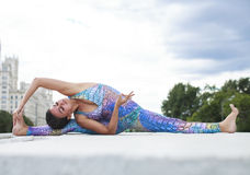 Exercises Yoga Woman Royalty Free Stock Images