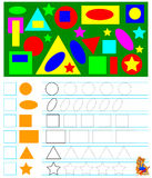 Exercises for young children - need to count the geometric figures and draw the corresponding numbers in squares. Vector image. Developing children skills for Royalty Free Stock Photo
