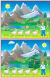 Exercises for young children - need to find 6 differences. Stock Image