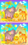 Exercises for young children - need to find 6 differences. Developing skills for counting. Vector cartoon image. Scale to any size without loss of resolution Stock Image