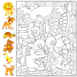 Exercises for young children - needs to find and to paint the animals. Stock Image