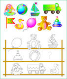 Exercises for young children - needs to paint the toys and find the missing. Royalty Free Stock Photo