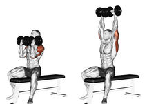 Exercising. Alternating dumbbell bench press with  Royalty Free Stock Photography
