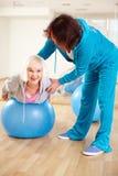 Exercising on ball Royalty Free Stock Image
