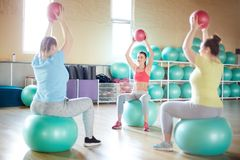 Exercising with balls stock photos