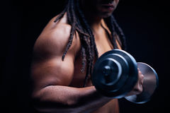Exercising with barbell Stock Photo