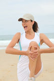 Exercising on the beach Stock Photos