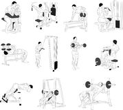 Exercising. Bending body to abdominal muscles and legs. Bending body to abdominal muscles and legs. Exercising for bodybuilding vectors Stock Images