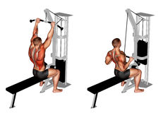 Exercising. Cable Bar Lateral Pulldown Stock Image